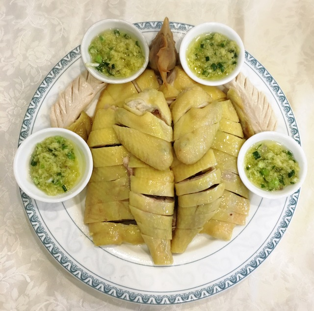 Boiled chicken with green onion& ginger sauce